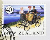 A stamp printed in New Zealand dedicated to old cars shows 1895 Benz Velo