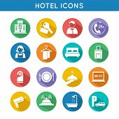 Hotel Travel Icons Set