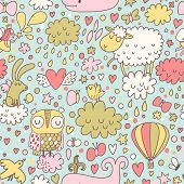 picture of counting sheep  - Funniest seamless pattern with animals and birds in the sky - JPG