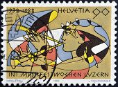 A stamp printed in Switzerland dedicated to the 50th anniversary of the International Music Festival