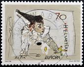 stamp printed in Switzerland shows Clown