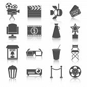 Cinema entertainment icons set