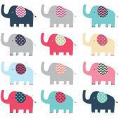 Retro Cute Elephant pattern
