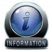 information sign icon banner or label to search more details and find online info