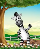 picture of landforms  - Illustration of a smiling zebra near the tree - JPG