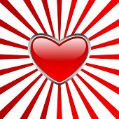 Heart button with stripes