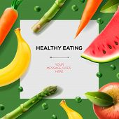 Healthy eating template with fruits and vegetables