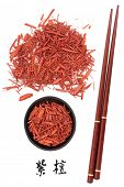 Sandalwood chinese herbal medicine and chopsticks with mandarin script title translation. Tan xiang.