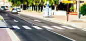 picture of zebra crossing  - Pedestrian zebra accross the street. Tilt shift view.