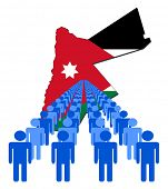 Lines of people with Jordan map flag vector illustration