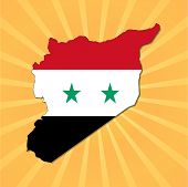 Syria map flag on sunburst vector illustration