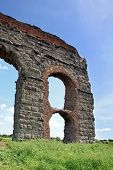 stock photo of aqueduct  - stone arches of ancient Roman aqueduct  - JPG
