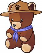 stock photo of boy scout  - A cute teddy bear cub stuffed animal dressed as a boy scout with bandanna and adventure hat - JPG