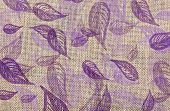 Detailed Coarse Fabric With Illustrated Violet Leaves Texture Background