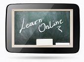 Blackboard Inside Computer Tablet With Learn Online Chalk Text