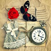 pic of nostalgic  - old love mails vintage pocket watch red rose flower and butterfly - JPG
