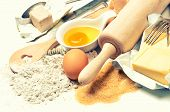 Baking Ingredients Eggs, Flour, Sugar, Butter, Yeast