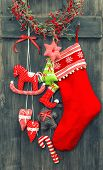 Christmas Decoration Santa's Sock And Handmade Toys