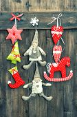 Christmas Decoration Handmade Toys On Wooden Background