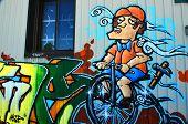 Street art Montreal Biker