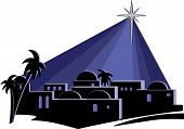 pic of desert christmas  - An isolated illustration of the town of Bethlehem at night - JPG