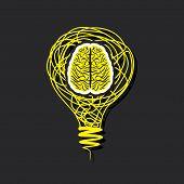 bulb brain icon in bulb concept vector