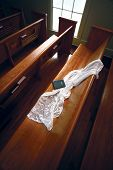 Veil On The Church Pew - Clipping Path