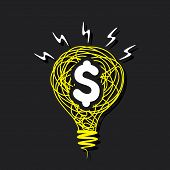 creative dollar bulb design with sketch yellow bulb with white dollar symbol vector