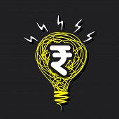 creative money idea, rupee symbol in sketch bulb or financial design concept vector