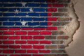 picture of samoa  - Dark brick wall texture with plaster  flag painted on wall Samoa - JPG