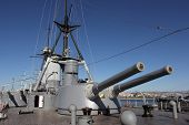 Rear 9.2 in main guns view of Battleship Averoff, Faliro, Greece