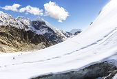 stock photo of cho-cho  - View of Cho La pass Himalayas in Nepal - JPG