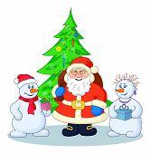 Santa Claus, Christmas tree and snowmans