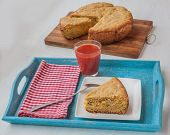 Vegetable Pie Of Oat Flour And Cheese A Glass Of Tomato Juice