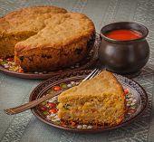 Portion Of Oat Flour Cake And Mug  Of Tomato Juice