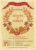 Vintage wedding save date card with leaves wreath
