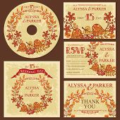Vintage fall wedding template set with leaves wreath