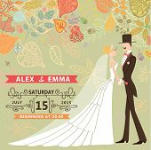 Retro wedding invitation with bride,groom,autumn leaves