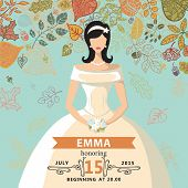 Bridal shower invitation.Bride and autumn leaves