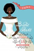 Bridal shower invitation with mulatto bride female