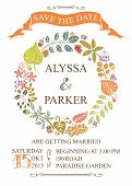 Autumn wedding save date card with leaves wreath