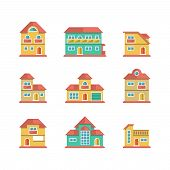 Set Flat Icons Of Houses And Buildings