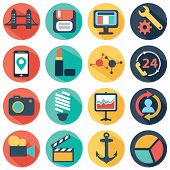 Vector collection of colorful flat business and finance icons with long shadow. Design elements for