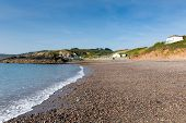 The Lizard Heritage coast Kennack Sands beach Cornwall South West England with blue sky in summer
