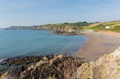 Kennack Sands Cornwall the Lizard Heritage coast South West England with blue sky in summer
