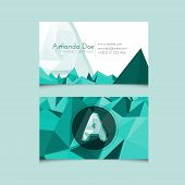 Low Poly Business Card Template With Alphabet Letter A