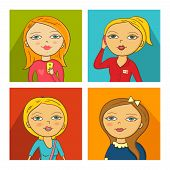Vector Illustration of women faces