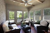 pic of screen-porch  - Porch in luxury home with wood ceiling beams - JPG
