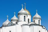 Domes Of Saint Sophia Cathedral In Kremlin, Great Novgorod, Russia