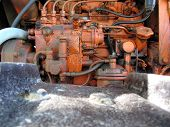 Engine Of Old Italian Crawler Tractor
